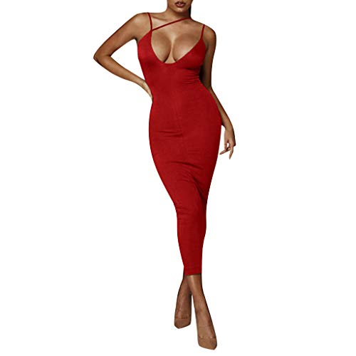☆HebeTop Women's Sexy Bodycon Sleeveless Ruched Party Mini Cocktail Dress Red