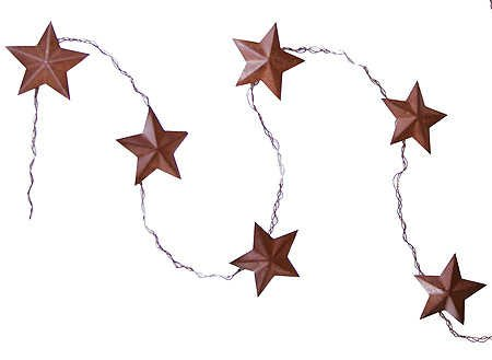 (Rusty Tin Look Dimensional Star Garland on Twisted Wire- 3 Garlands Measuring 3 Feet Long Each)