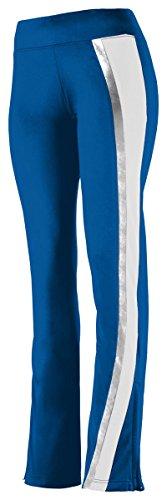 Augusta Big Girl's Hemmed Bottom Pant, Royal/White/Metallic Silver, ()