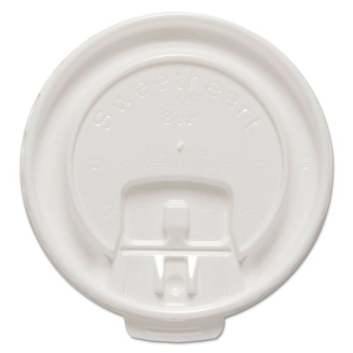 SOLO Cup Company - Liftback & Lock Tab Cup Lids for Foam Cups, Fits 8 oz Trophy Cups, WE, 100/PK DLX8RPK (DMi PK