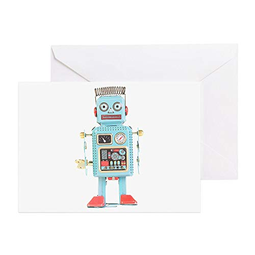 CafePress Classic Tin Robot Greeting Card, Note Card, Birthday Card, Blank Inside Glossy