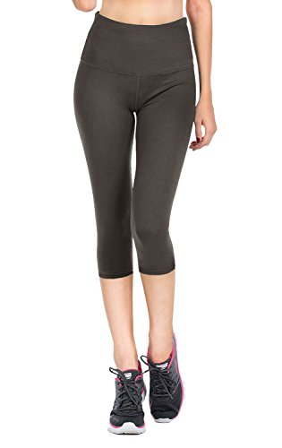 VIV Collection Signature Capri Leggings Soft w Pocket (XL, Charcoal)