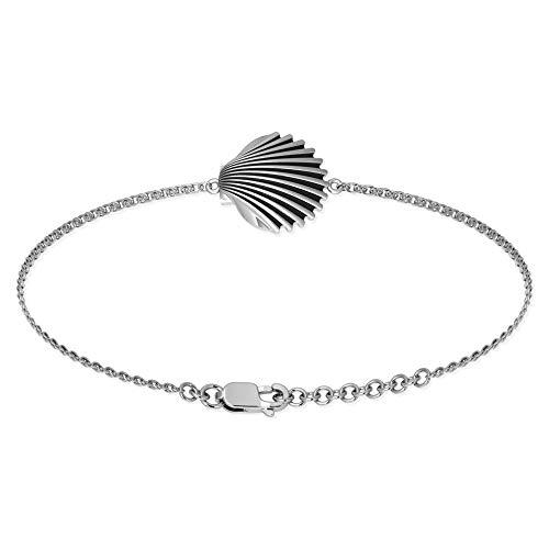 Belinda Jewelz 925 Rhodium Plated Metal Seashell Clam Shell Summer Beach Ocean Charm Dainty Fashion Girls Cute Accessory Jewelry Anklet Bangle Bracelet, Sterling Silver