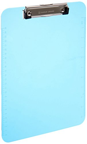 Charles Leonard Transparent Plastic Clipboard with Low Profile Clip and Pull Out Hook, Letter Size, Neon Blue, 1 Each (89715) Vinyl Clipboard