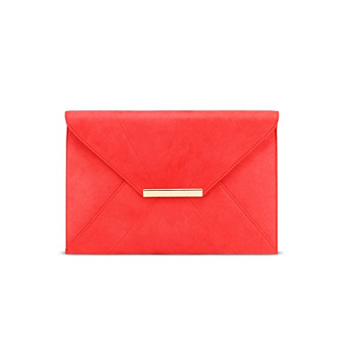 Red Clutch Purses for Women,Anna Smith Envenlope Clutches Handbag with Pocket Bridal Purse Removable Chain Strap Party Bags For Prom Magnet Hook Faux Suede Purse for Girls (Red) by Anna Smith