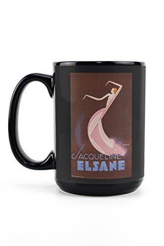 Jacqueline Elsane Vintage Poster (artist: de Madrazo) France c. 1932 (15oz Black Ceramic Mug - Dishwasher and Microwave Safe) ()