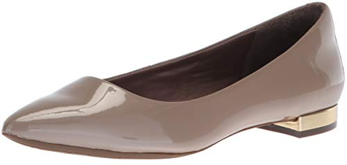 Rockport Women's Total Motion Adelyn Ballet Loafer Flat, Taupe Grey Pearl Patent