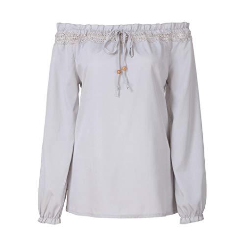 Donna Maglia Shirt Lunga Manica Donna Pocket T Top Tops Camicetta Yesmile Casual Maglietta Camicetta Sciolto Sporche Camicia Sweatshirt Daily Donne grigio O6BqwB