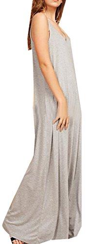 Sleeveless Party V Solid Grey Maxi Color Dress neck Jaycargogo Womens Long xqXA8Xp
