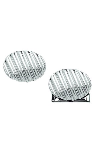 - 14K White Gold Oval Cufflinks With Diagonal Lines-86270