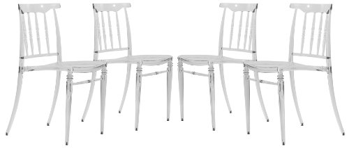 LeisureMod Spindle Modern Clear Molded Plastic Stackable Lucite Dining Side Chair Set of 4