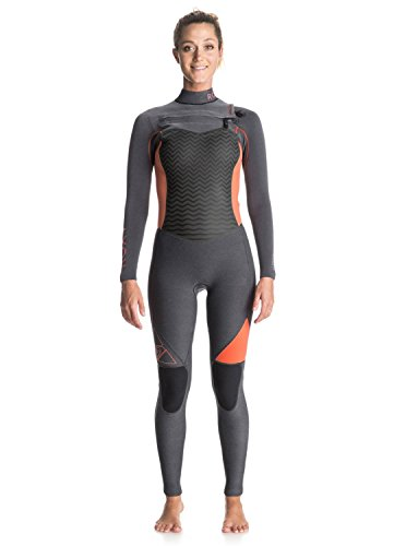 Roxy Womens Roxy Performance 4/3Mm - Chest Zip Full Wetsuit - Women - 6 - Grey Mid Heather Grey - Wetsuits Full Womens