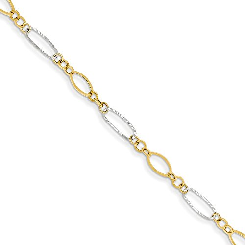 14k Two Tone Yellow Gold Oval Shapes Bracelet 7.25 Inch Fancy Fine Jewelry Gifts For Women For Her (14k Bracelet Two Tone)