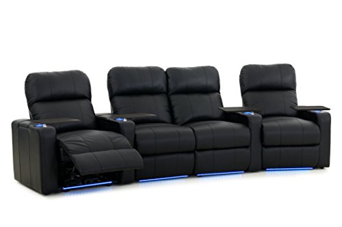 Turbo XL700 Home Theater Seats - Octane Seating - Black Bonded Leather - Power Recline - Row of 4 Seats with Middle Loveseat - Lights - Storage Arms -  TURBO-R4CLP-BND-BL