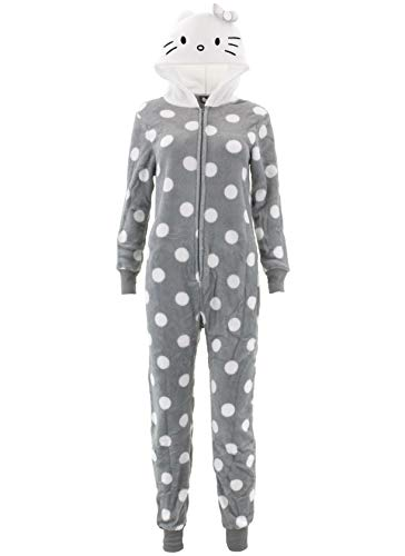 Hello Kitty Women's Printed Plush Hooded Union Suit, Light Gray, Medium (Printed Union)