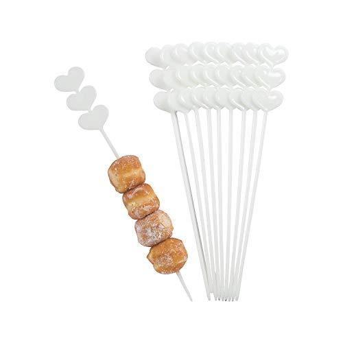 Fun Express - White Plastic Heart Skewer Sticks