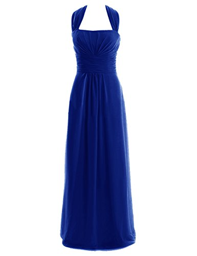 Diyouth Long Halter Bridesmaid Dresses Chiffon Formal Prom Gowns Backless Royal Blue Size 6