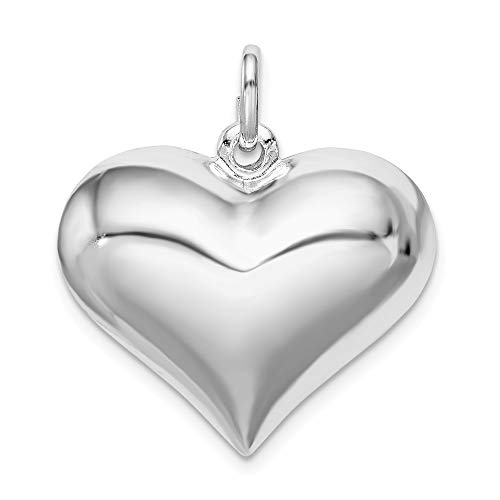 Puffed Plated Heart (Sterling Silver Rhodium-plated Puffed Heart Pendant)