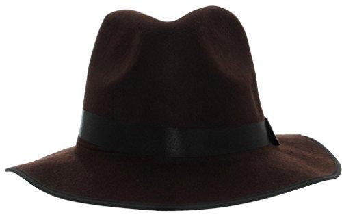 La vogue Unisex Klassiker Blower Jazz Hut Fedora Trilby Hat Filzhut Braun