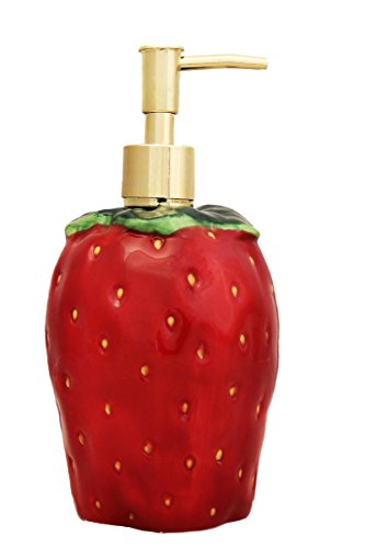 Painted Strawberry - 3-D Strawberry Hand-Painted Ceramic Lotion Dispenser, 83588 by ACK 10.5.5.1