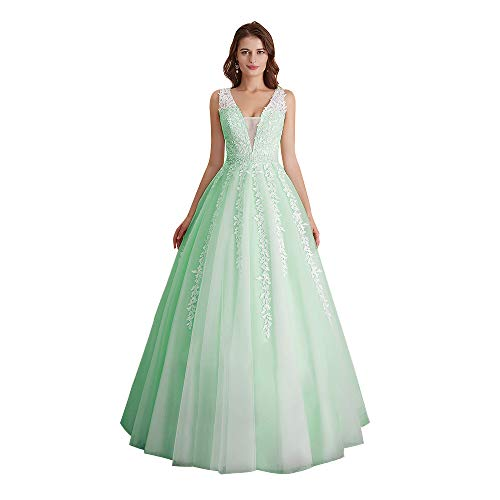 Abaowedding Women's Wedding Dress for Bride Lace Applique Evening Dress V Neck Straps Ball Gowns Mint US 14