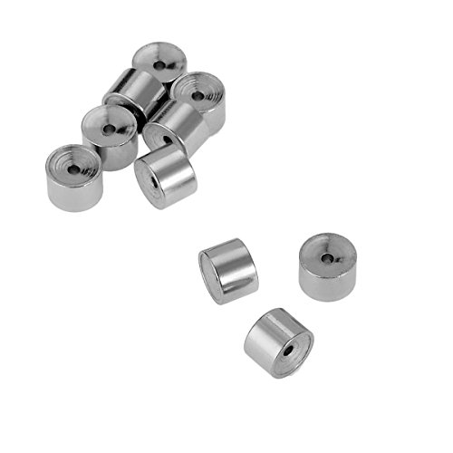 Silver Cylinder Bead (VALYRIA 10pcs Stainless Steel Silver Cylinder Beads Design With Crystal Findings 5mmx3.5mm)