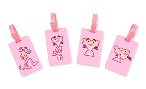 Finex Set of 4 - Pink Panther Travel Luggage ID Tag for Bags Suitcases with Adjustable - Tag Luggage Print Snake