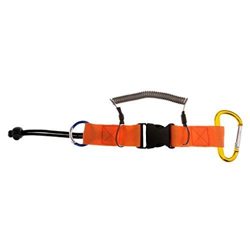 Seafard Elastic Camera Coil Lanyard with Quick Release Buckle & Carabiner Steel Core - Orange