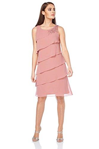Roman Originals Femme Robe en Mousseline  Volants - Ceremonie Longueur Genoux Courte Grande Taille Mariage - Printemps Ete - Rose Rose