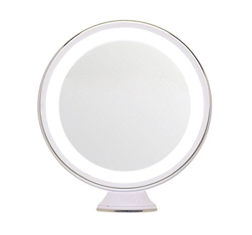 Leju Lighted Makeup Mirror With 5X Magnification  Shower Mirror  White