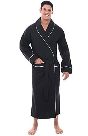 Alexander Del Rossa Mens Cotton Robe, Lightweight Woven Bathrobe, Small Black (A0715BLKSM)