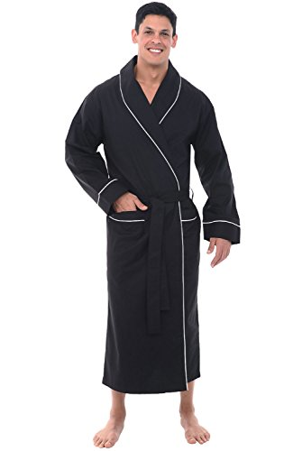 Alexander Del Rossa Mens Cotton Robe, Lightweight Woven Bathrobe, Small Black (A0715BLKSM)