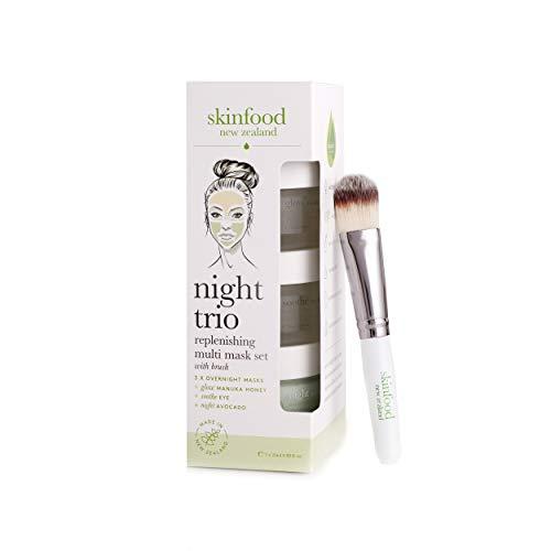 Skinfood Night Trio Face Mask Set with Manuka Honey, Avocado and Aloe Vera to Soothe, Moisturize and Replenish ()