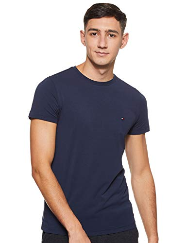 Tommy Hilfiger Men's Core Stretch Slim Cneck Tee T-Shirt, Grey (Cloud HTR 501), XXX-Large