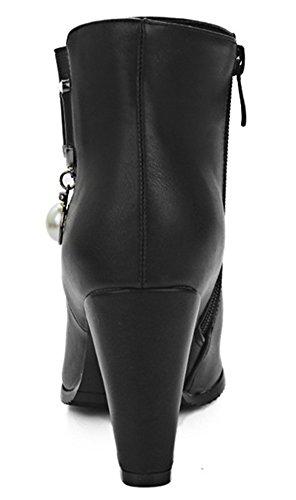 Short Side Pendant With Zipper High IDIFU Womens Ankle Heels Chunky Elegant Black Smile Boots qSx40P