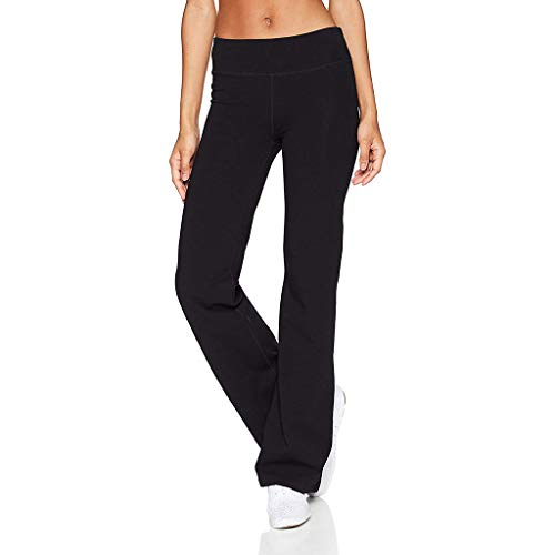 Eakyool Elastic Loose Waist Slim Pockets Women's Casual Solid Color Slim Hips Loose Yoga Pants Wide Leg Sports Pants Black