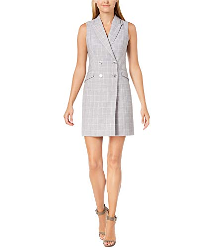 Calvin Klein Check Print Sleeveless Coat Dress CD8EV5PL Tin/Cream - 35 Inch Cream