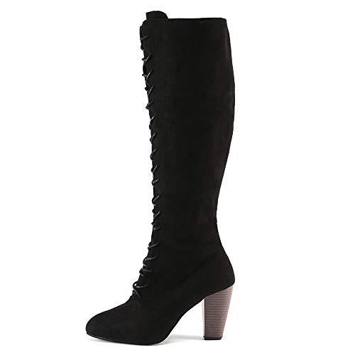 Hauts Chaussures Bottes Mince taille Lacets Britannique Aux 5 Genoux Longues Talons Transer Noir Brun 4 La Femmes Pour Cuisse Jusqu' 7z7wr