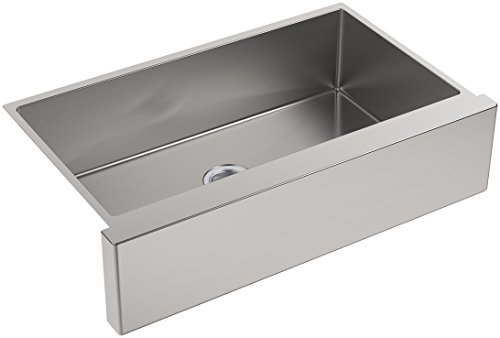 KOHLER K-5415-NA Strive Self-Trimming Undermount Large Single-Bowl Kitchen Sink with Tall Apron, 35 1/2 x 21 1/4, Stainless Steel ()