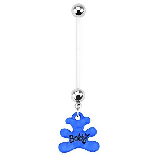 BodyJ4You Pregnancy Belly Ring Blue Teddy Bear 14G Maternity Flexible Bar Bear Belly Ring