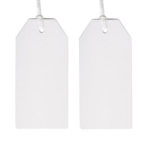 Dress My Cupcake 50-Pack Gift Hang Tag with String, Classic White