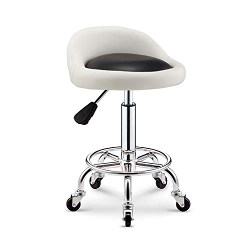 XLZ Breakfast bar Stool Swivel Stool Adjustable Portable Chrome Work Chair On Wheels with Backrest for Beauty Office Salon Massage White Or Black,5 Colors Footrest (Color : White)