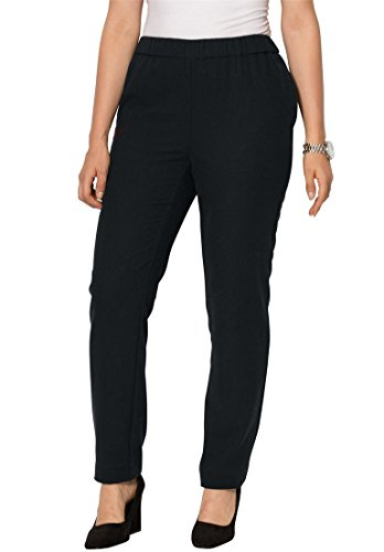 Jessica London Women's Plus Size Wool Pants With Elastic Waist – 12, Black