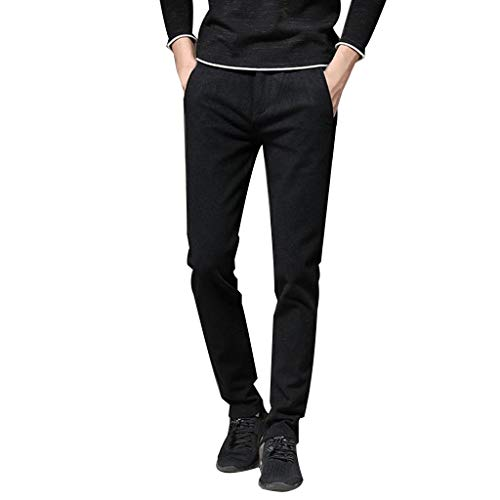 - ANJUNIE Men Solid Denim Cotton Straight Trousers with Pocket Elastic Distressed Jeans Pants(Black1,29)