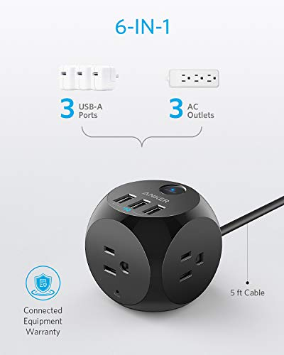 Anker Power Strip with USB, 5 ft Extension Cord, PowerPort Cube USB with 3 Outlets and 3 USB Ports, Portable Design, Overload Protection for iPhone Xs/XR, Compact for Travel, Cruise Ship, and Office