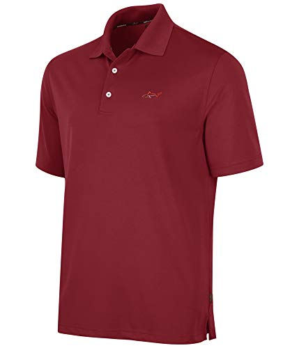 Greg Norman Mens Five Iron Performance Rugby Polo Shirt, Red, Small