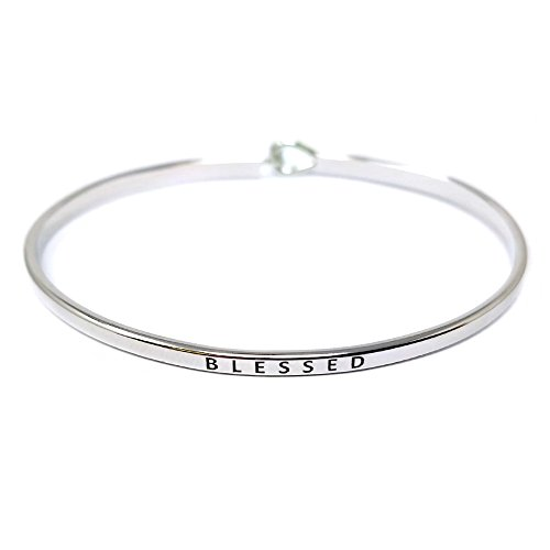by you Inspirational Blessed Message Engraved Thin Cuff