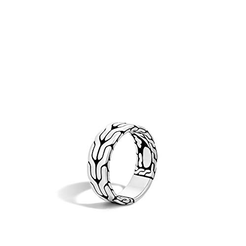 John Hardy Men's Classic Chain Silver Band Ring 8mm, Size 11