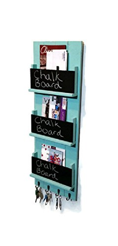 Renewed Décor Sydney Wall Mounted Magazine, File and Book Rack Featuring Customizable Number of Key Hooks, Organizing Slots, Chalkboards Available in 20 colors ()