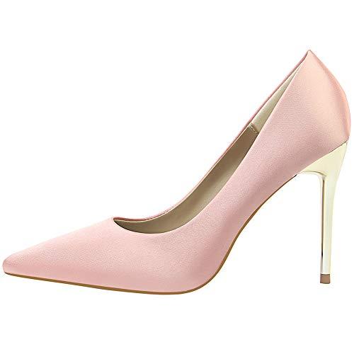 Bout Soirée Talons Chaussure Bureau Talon Grande Escarpins Sexy Rose Femmes Haut Taille Dorées wealsex Pointu Aiguilles Elégant Mariage qgwS0nZx
